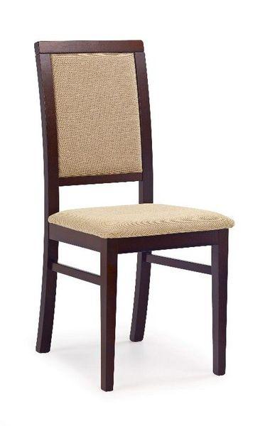 Halmar Dřevěná židle Sylwek 1 barva tmavý ořech - béžová (tkanina)