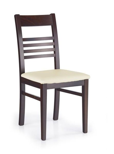 Halmar Dřevěná židle Juliusz barva tmavý ořech - krémová (eko kůže)