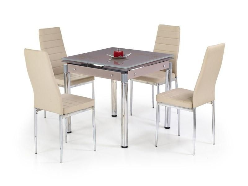 Halmar Skleněný jídelní rozkládací stůl Kent - chromovaná ocel barva béžová