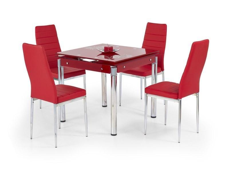 Halmar Skleněný jídelní rozkládací stůl Kent - chromovaná ocel barva červená