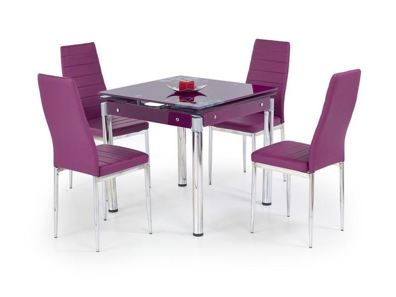 Halmar Skleněný jídelní rozkládací stůl Kent - chromovaná ocel barva fialová