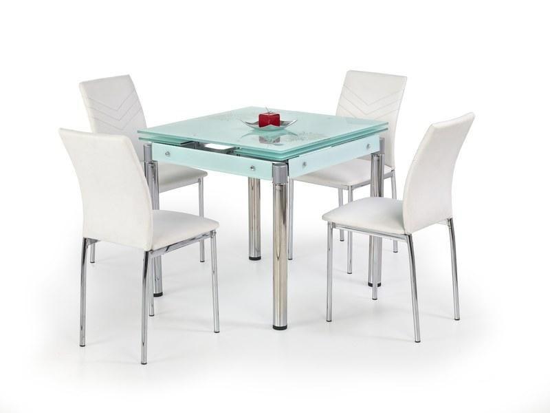 Halmar Skleněný jídelní rozkládací stůl Kent - chromovaná ocel barva Mléčná