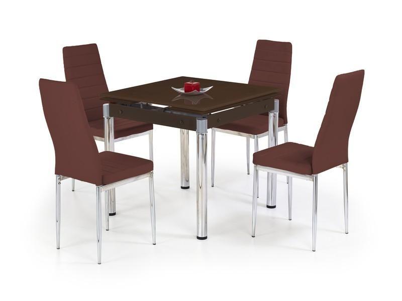 Halmar Skleněný jídelní rozkládací stůl Kent - chromovaná ocel barva hnědá
