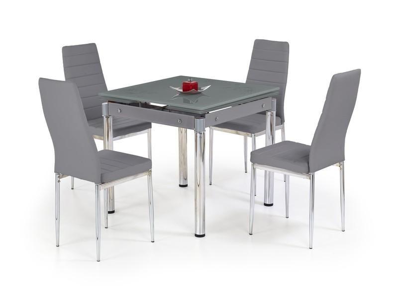 Skleněný jídelní rozkládací stůl Kent - chromovaná ocel barva šedá