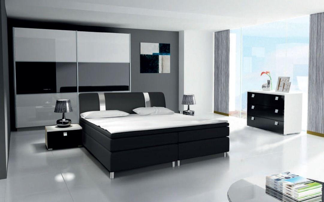 ložnice RIVA III - komplet - skříň 200cm - bílý/bílý lesk KAROL MEBLE