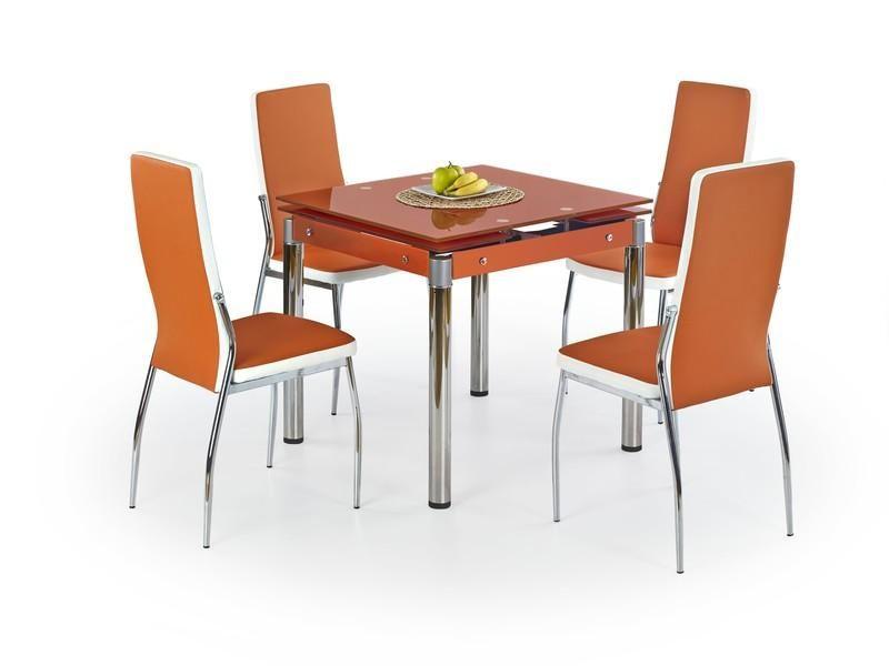 Halmar Skleněný jídelní rozkládací stůl Kent - chromovaná ocel barva oranžová