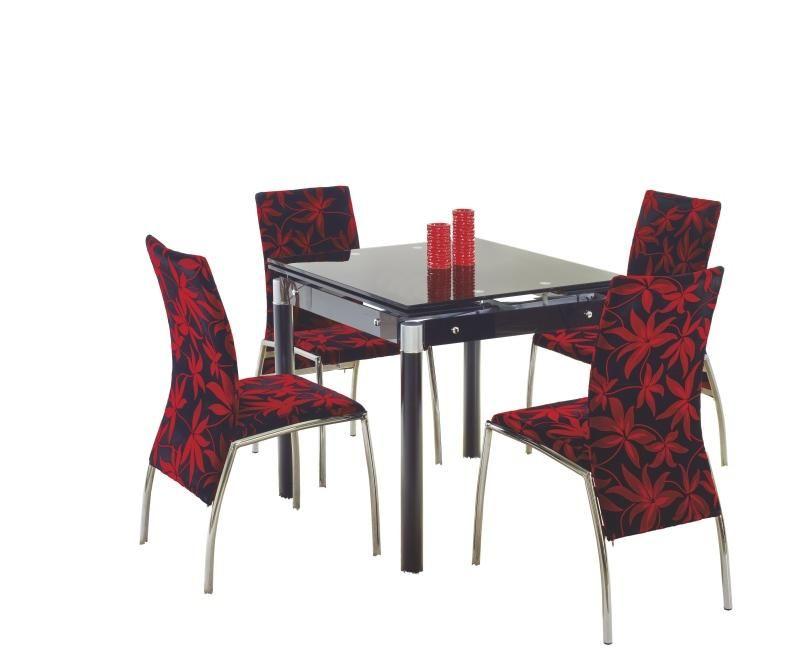 Skleněný jídelní rozkládací stůl Kent - chromovaná ocel barva černá