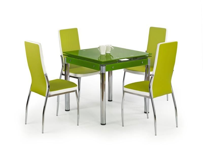 Halmar Skleněný jídelní rozkládací stůl Kent - chromovaná ocel barva zelená