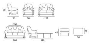 Luxusní sedací souprava ITALIANO - 3-2-1 CHOJMEX