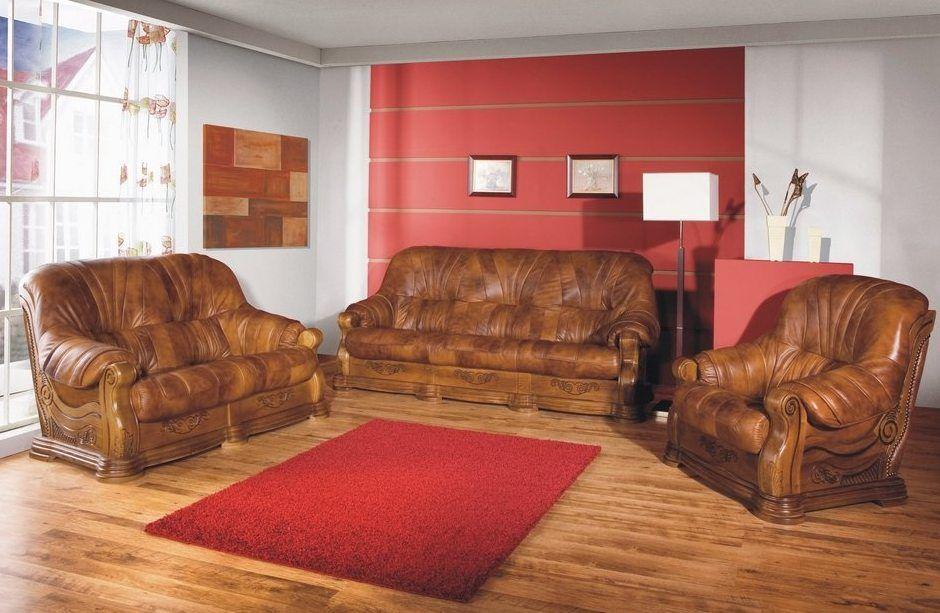 Luxusní kožená sedací souprava ROMA sestava 3-2-1