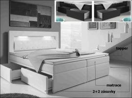 postel boxspring INTER TYP 1 - 160x200cm - úlož. prostor - 2+2 zásuvky KAROL MEBLE