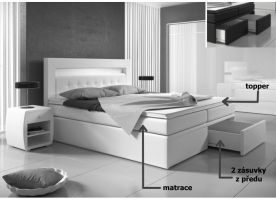 postel boxspring MILANO I - TYP 1 - 160x200cm - úlož. prostor - 2 zásuvky KAROL MEBLE