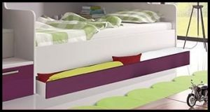 Patrová postel RÁJ 2 - Bílá/Bílý lesk - komplet KAROL MEBLE