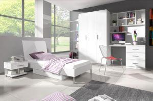 Patrová postel RÁJ 3 - Bílá/Bílý lesk - komplet