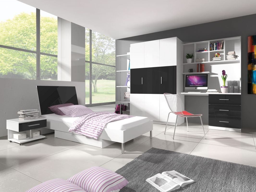 Patrová postel RÁJ 3 - Bílá/Černý lesk KAROL MEBLE