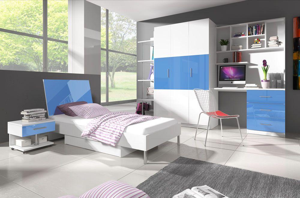 Patrová postel RÁJ 3 - Bílá/Modrý lesk - komplet KAROL MEBLE