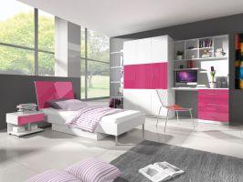 Patrová postel RÁJ 3 - Bílá/Růžový lesk - komplet