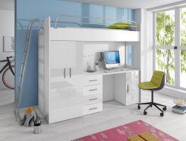 Patrová postel RÁJ 4D - Bílá/Bílý lesk - komplet