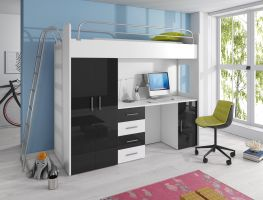 Patrová postel RÁJ 4D - Bílá/Černý  lesk - komplet