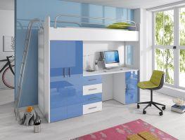 Patrová postel RÁJ 4D - Bílá/Modrý  lesk - komplet