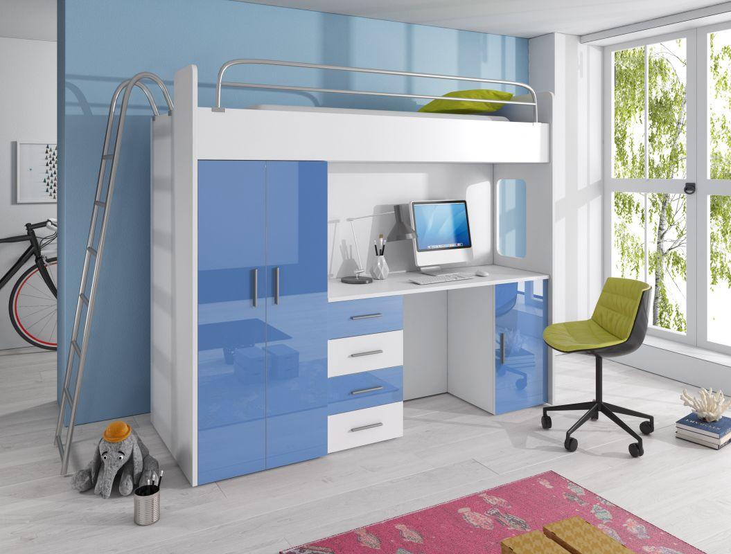 Patrová postel RÁJ 4D - Bílá/Modrý lesk - komplet KAROL MEBLE