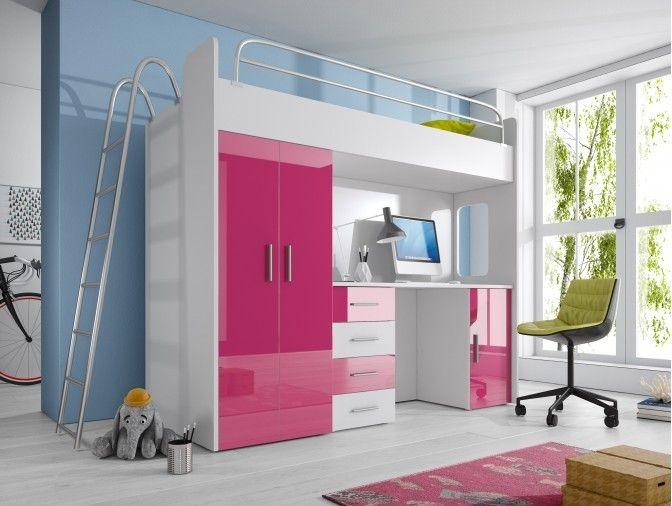 Patrová postel RÁJ 4D - Bílá/Růžový lesk - komplet KAROL MEBLE
