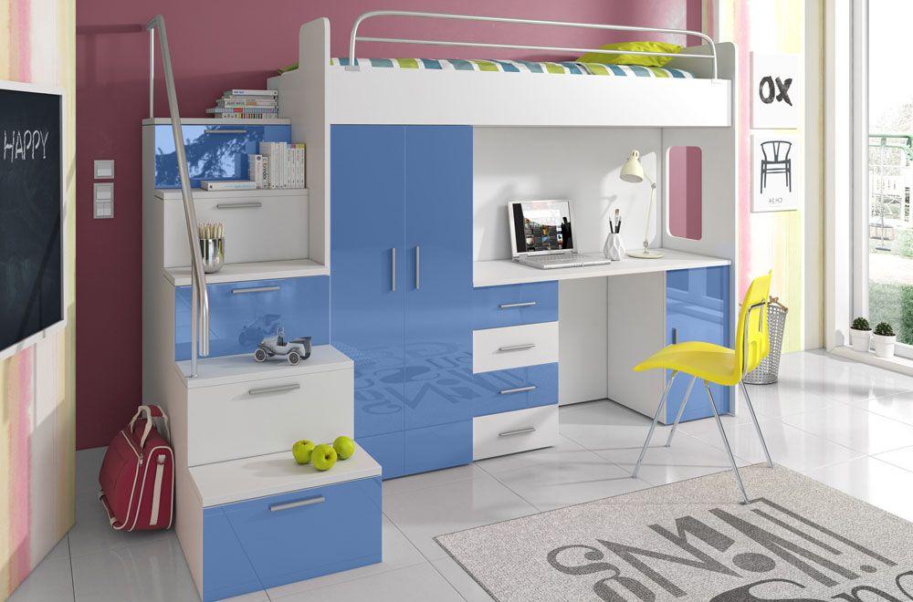 Patrová postel RÁJ 4S - Bílá/Modrý lesk - komplet KAROL MEBLE