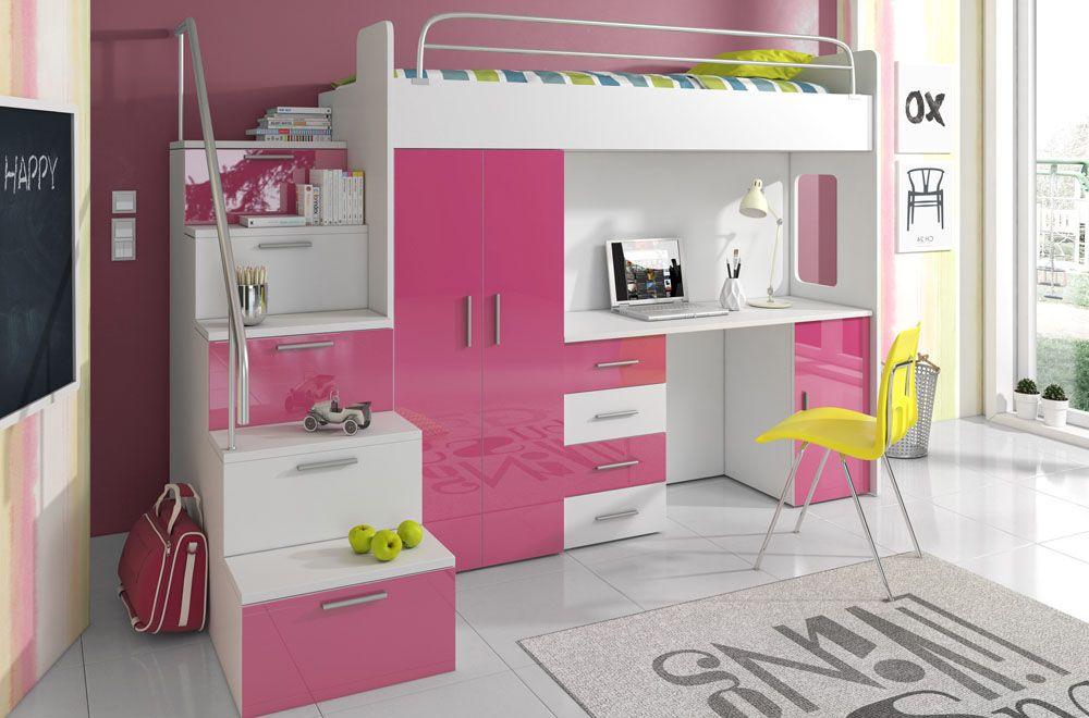Patrová postel RÁJ 4S - Bílá/Růžový lesk - komplet KAROL MEBLE
