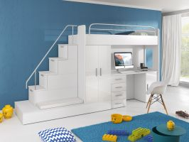 Patrová postel RÁJ 5 - Bílá/Bílý lesk - komplet