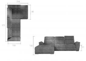 rohová sedací souprava TREVISCO - Monolith 37/ Monolith 84 EL-TAP