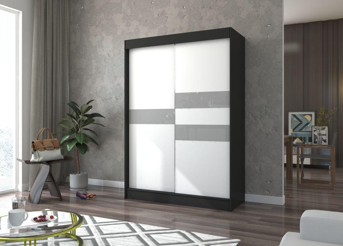 šatní skříň BATIA - BLACK + WHITE + GREY LACOBEL, š.150 ADRK