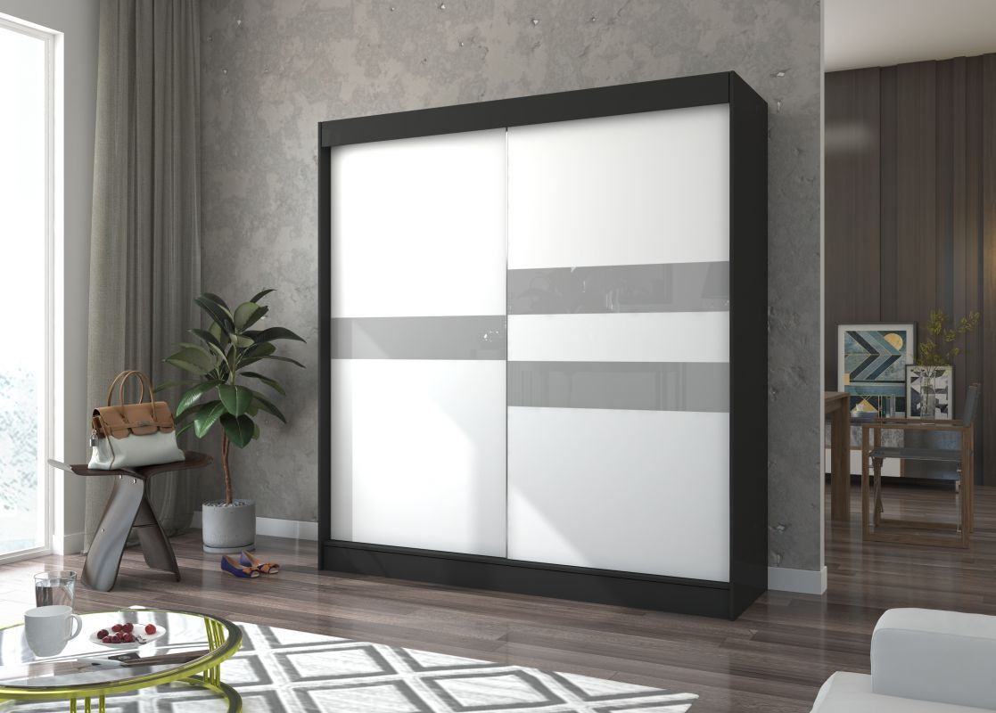 šatní skříň BATIA - BLACK + WHITE + GREY LACOBEL, š.200 ADRK