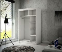 šatní skříň BATIA - BLACK + WHITE LACOBEL, š.120 ADRK