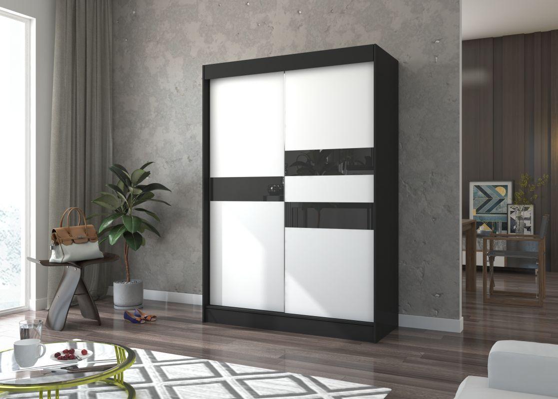 šatní skříň BATIA - BLACK + WHITE LACOBEL, š.150 ADRK