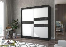 šatní skříň BATIA - BLACK + WHITE LACOBEL, š. 200