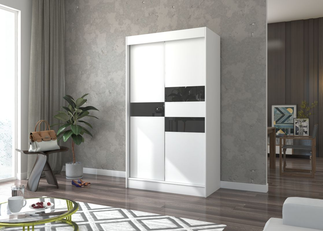 šatní skříň BATIA - WHITE + BLACK, š.120 ADRK