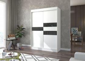 šatní skříň BATIA - WHITE + BLACK, š.150