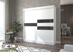 šatní skříň BATIA - WHITE + BLACK, š.200