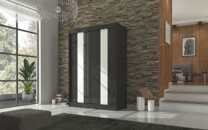 šatní skříň KAREN - BLACK + WHITE LACOBEL, š.150