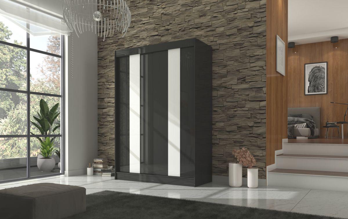 šatní skříň KAREN - BLACK + WHITE LACOBEL, š.150 ADRK