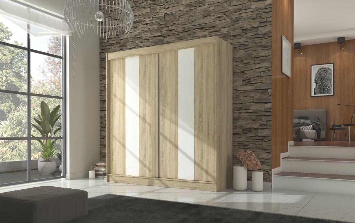 šatní skříň KAREN - SONOMA + WHITE LACOBEL, š.200 ADRK
