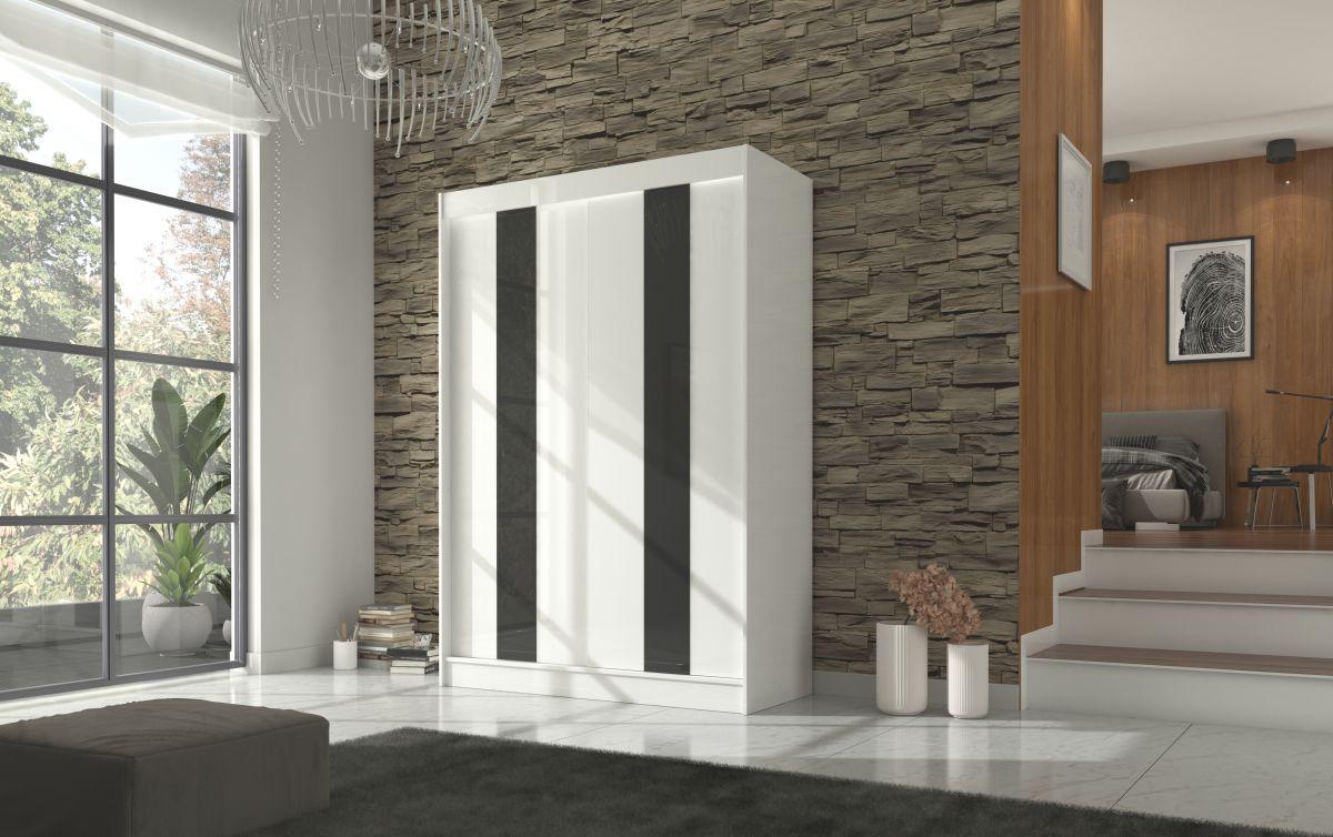 šatní skříň KAREN - WHITE + BLACK LACOBEL, š.150 ADRK