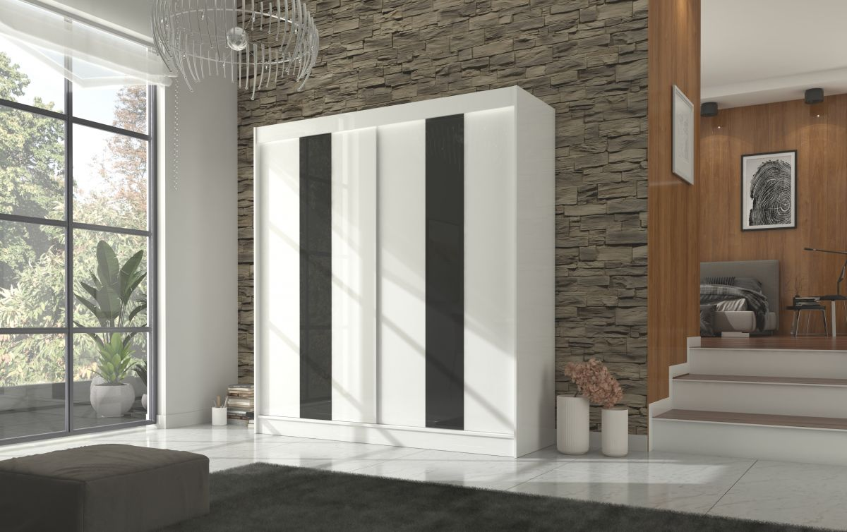 šatní skříň KAREN - WHITE + BLACK LACOBEL, š.200 ADRK