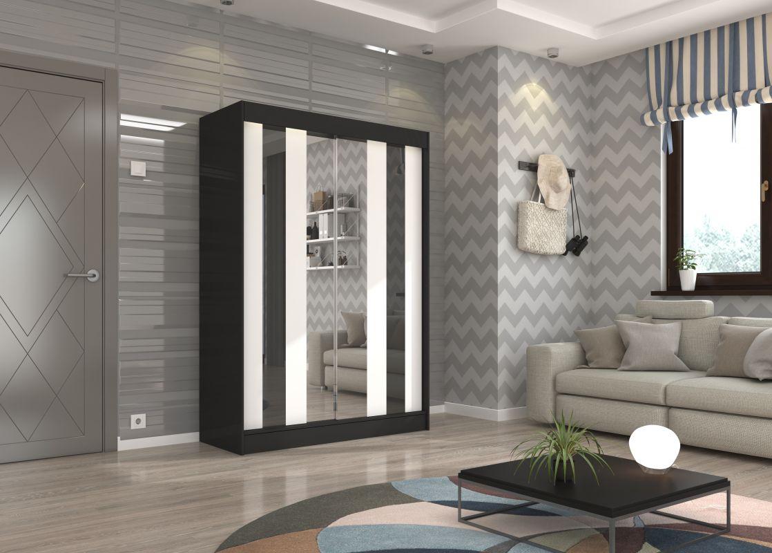 šatní skříň KEITA - BLACK + WHITE + BLACK, š.150 ADRK