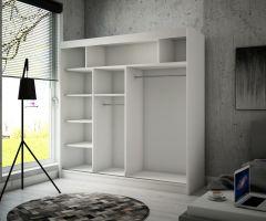 šatní skříň KEITA - WHITE + BLACK, š.200 ADRK