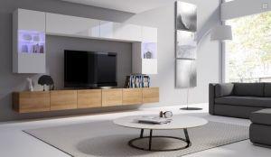 obývací stěna CALABRINI I - bílá lesk / dub zlatý