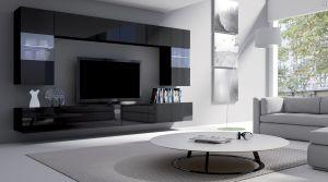 obývací stěna CALABRINI I - černá / černá lesk