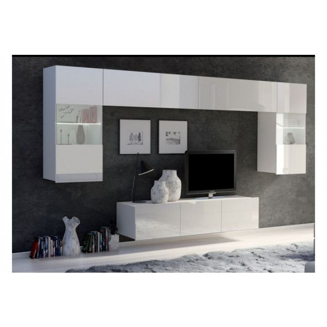 obývací stěna CALABRINI II - bílá / bílá lesk GIBMEBLE