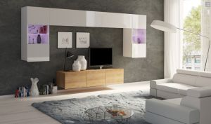 obývací stěna CALABRINI II - bílá lesk / dub zlatý