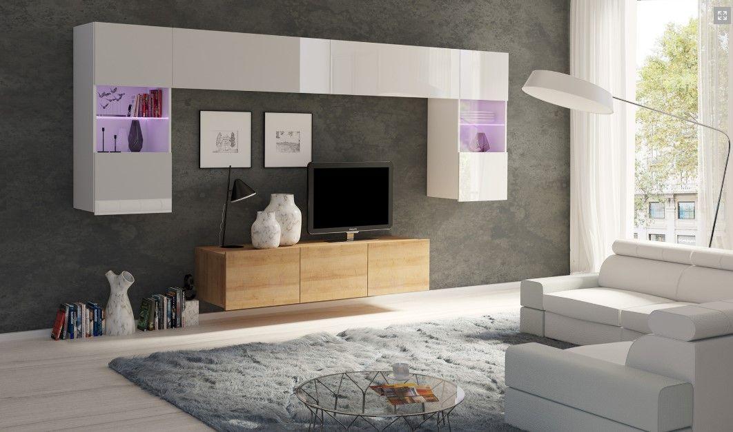 obývací stěna CALABRINI II - bílá lesk / dub zlatý GIBMEBLE